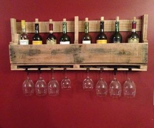 This is a simple wine rack made from the end section of a pallet.  This can be made in around an hour and a half depending on what tools you use.