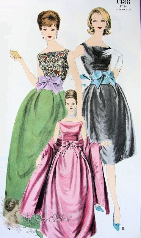 1960 Glam Formal Evening Gown Pattern Vogue Paris Original 1488 Vintage Sewing Pattern Jacques Heim Ball Gown and Stole Breath Taking Elegance Bust 32 by reva