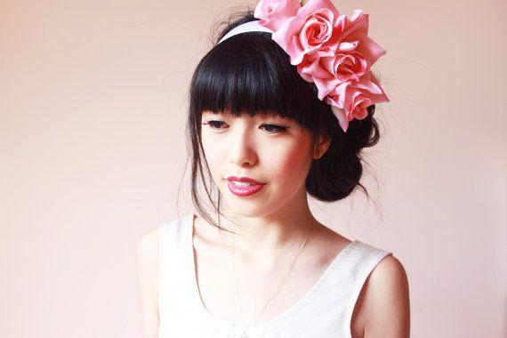 Marielle statement pink rose headband // wedding by kisforkani,