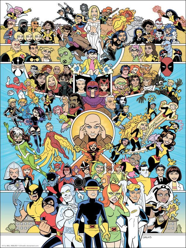Holy crap, look at this by-generation visual of ALL the X-Men EVER. Art by Bill Walko.