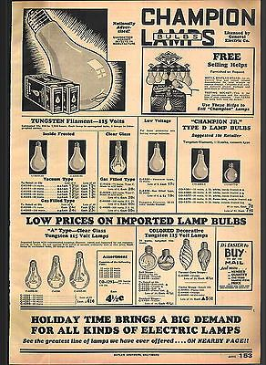 1932 ADVERTISEMENT Champion Light Bulb Lamps Tungsten Filament Store Display