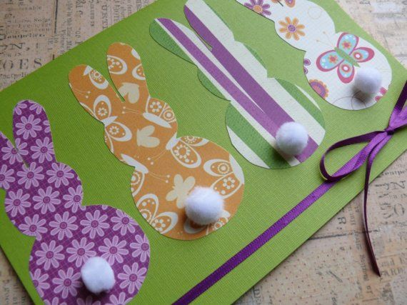 Handmade Easter card and envelope  Cottontails by ZoBeDesigns, $6.00