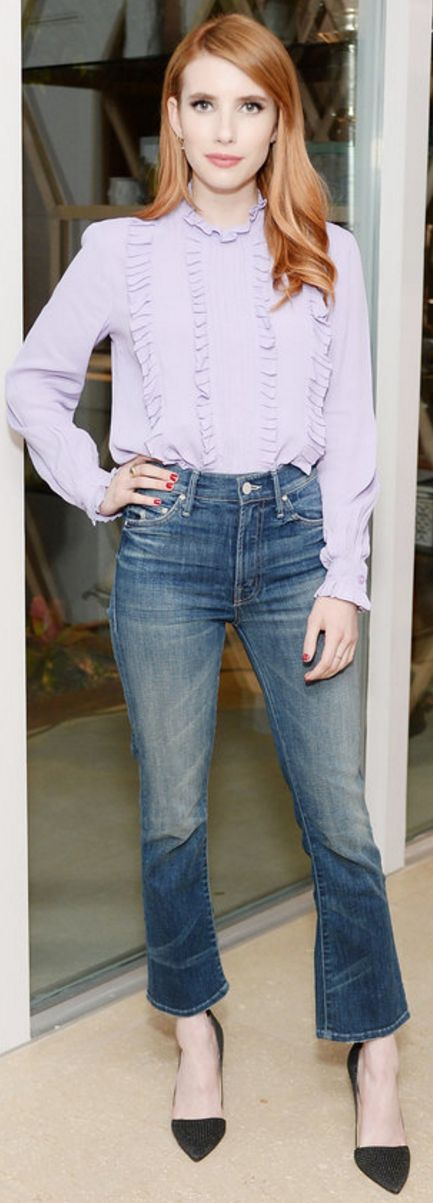 Who made  Emma Roberts' black pumps and purple ruffle top?