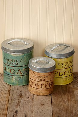17.99 SALE PRICE! Incorporate this set of three decorative Metal Canisters into your retro themed party or farmhouse chic inspired kitchen. The galvanized me...