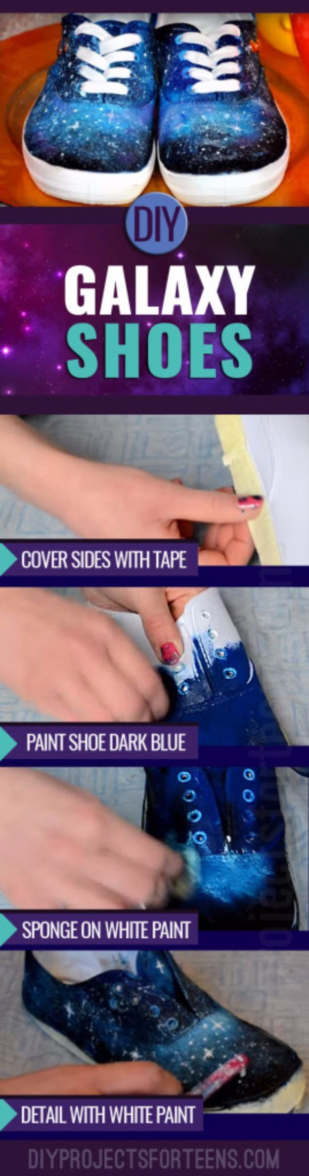 DIY Projects for Teenagers - DIY Galaxy Shoes - Cool Teen Crafts Ideas for Bedroom Decor, Gifts, Clothes and Fun Room Organization. Summer and Awesome School Stuff http://diyjoy.com/cool-diy-projects-for-teenagers