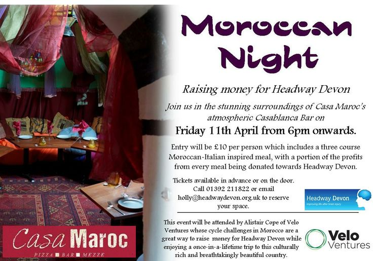 £10 for a three course meal at Casa Maroc in Exeter! Friday 11th April, 6pm onwards.