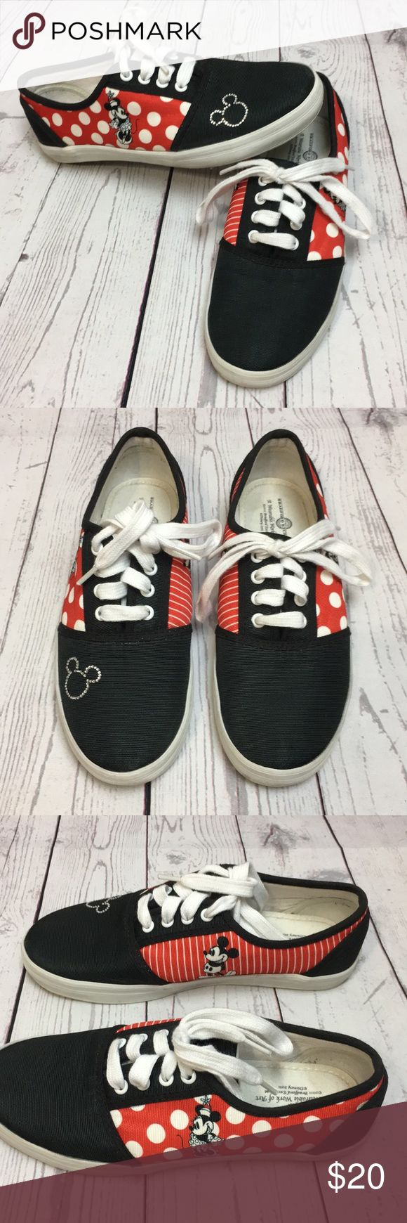 "Bradford Exchange Disney Mickey & Minnie Sneakers These Mickey and Minnie shoes are in good pre-owned condition. They have little signs of wear mostly on the soles. Thank you Goodwill for marking them with a big""C"" on the soles😒  Women's size 5.5 Comes from a smoke free home Any questions please don't hesitate to ask. Bradford Exchange Shoes Sneakers"