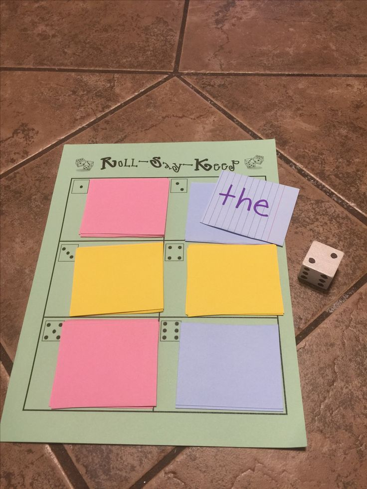 This is a great game to play in small group then in centers where students can play together. Roll the dice. Say the word and keep the card. If you miss the word it goes back in the deck.  This can be leveled down for kindergarten by using picture cards and having students give the letter sound.