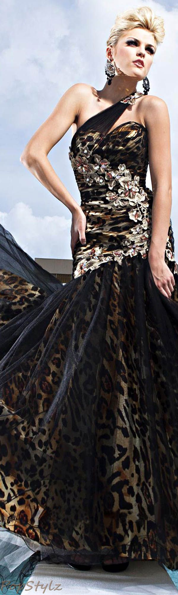 Tony Bowls Leopard Evening Gown