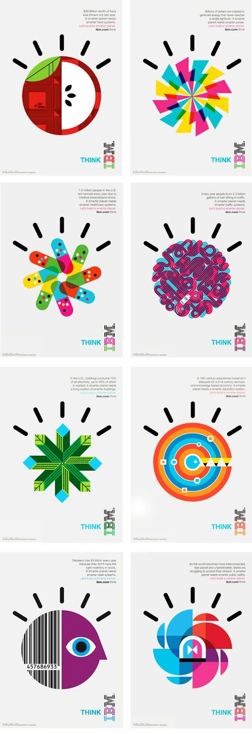 IBM Smarter Planet | The col­lab­o­ra­tion between Office and Ogilvy & Mather resulted in a series of bright, bold icons that have been used bill­boards, adver­tise­ments, posters and more both nation­ally and internationally.