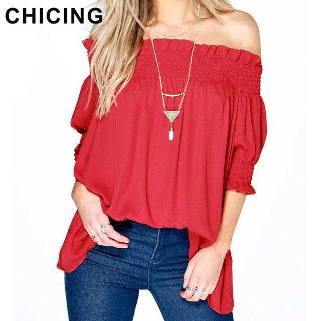 CHICING Women Sexy Off the Shoulder Blouse 2016 Summer Casual Ruffles Puff Sleeve Shirt Chiffon Tops blusa feminino B1606017