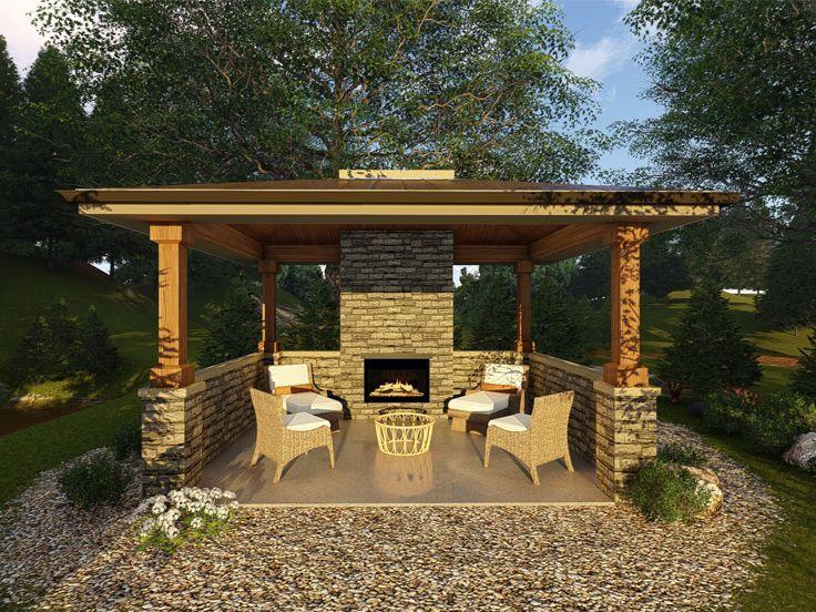 050x 0006 Gazebo Or Pavilion Plan With Fireplace 16 X14 Backyard Pavilion Gazebo Plans Gazebo