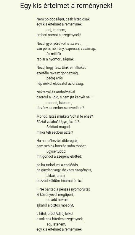 Szabó Lőrinc: Egy kis értelmet a reménynek