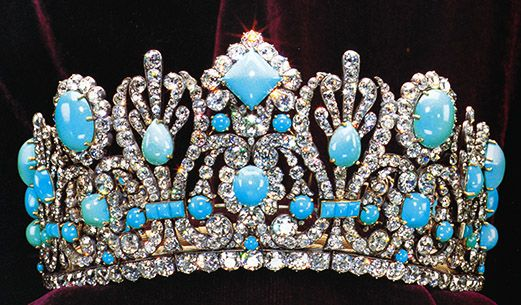 Napoleon's Crown For His Empress Marie Louise, stunning crown beset with beautiful persian turquoise and diamonds.