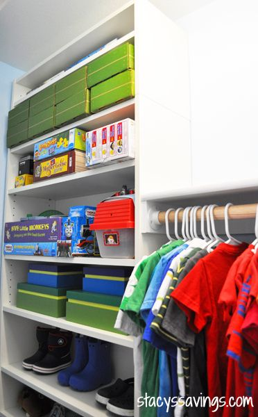 Kid's Custom Closet IKEA Billy Hack  --- great idea ... maybe we can do this to the closet ...