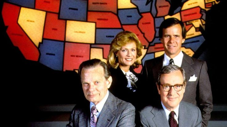 By the 1980 presidential election, NBC had established the electoral map with red designating wins for the Democratic party and blue for the Republicans. Pictured, clockwise from left, David Brinkley, Jessica Savitch, Tom Brokaw and John Chancellor. (NBC via Getty Images)