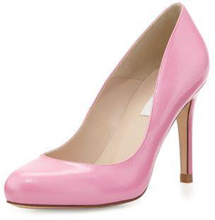 L.K. Bennett Stila Saffiano Round-Toe Pump, Candy (Pink)
