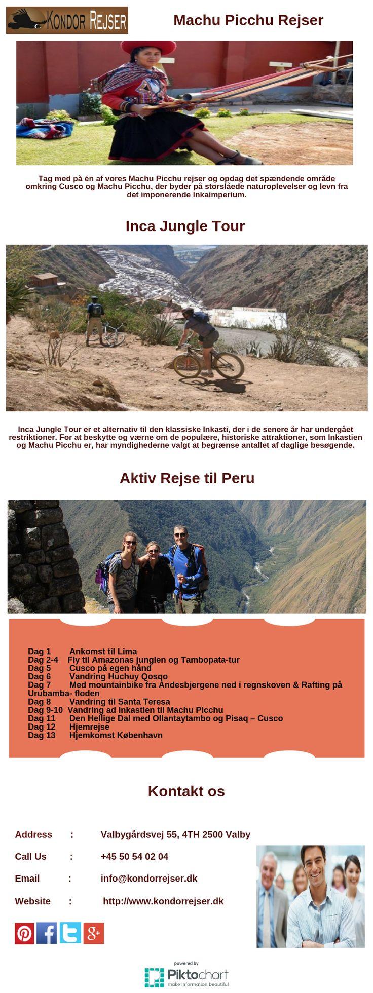 Machu Picchu Rejser Tag med på én af vores Machu Picchu rejser og opdag det spændende område omkringCusco og Machu Picchu, der byder på storslåede naturoplevelser og levn fra detimponerende Inkaimperium.