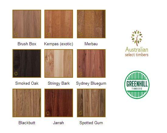 Barrington Australian Hardwood Range colour swatches. www.greenhilltimbers.com.au (03) 9465 9875.
