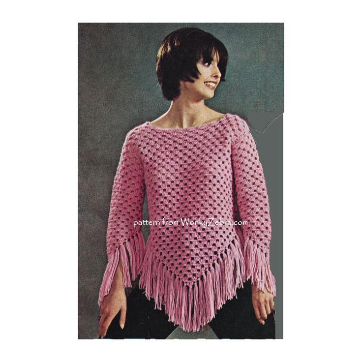 WZ899 unusual pattern for a crochet  poncho WITH SLEEVES! love this wearable variation.
