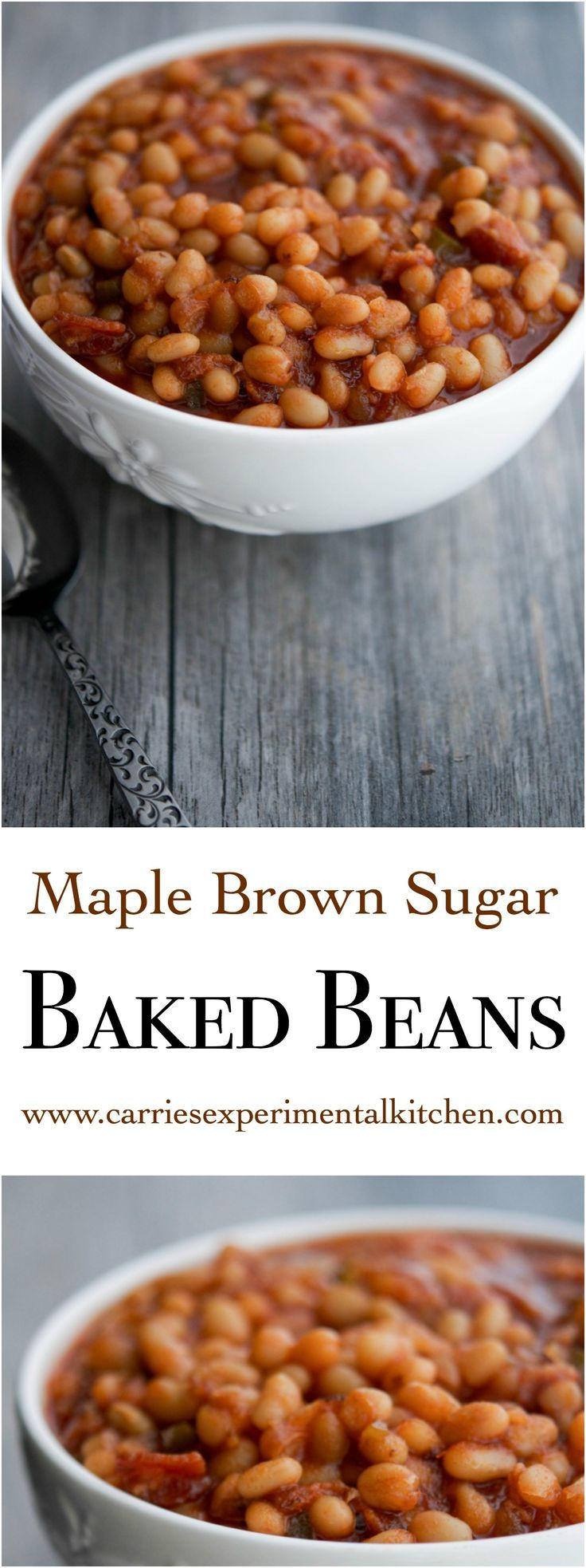 These Maple Brown Sugar Baked Beans made with navy beans, maple syrup, brown sugar, peppers and onions are the perfect addition to your Summer BBQ plans.