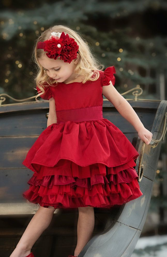 Persnickety Clothing Loralei Dress Red Holiday 140
