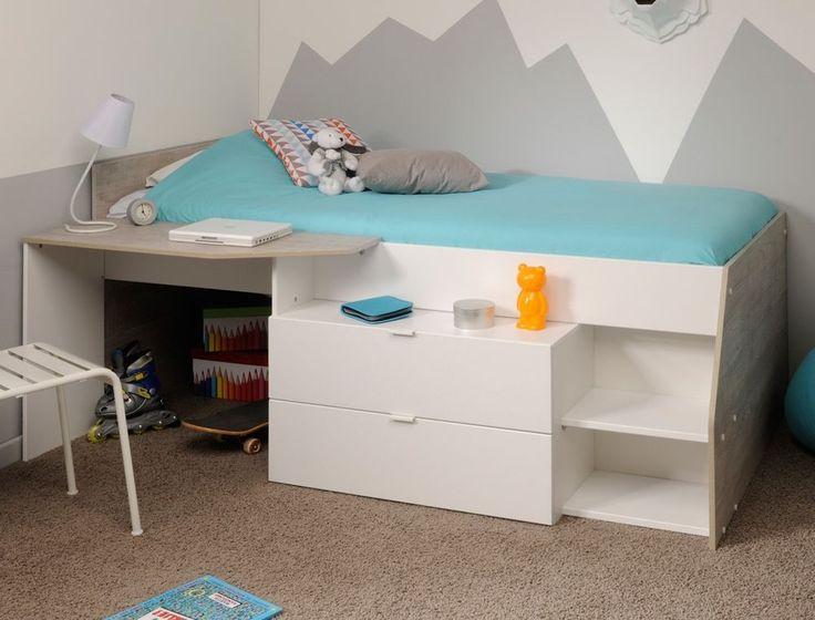 Hochbett für Mädchen und Jungen 90x200cm, weiß grau, Kinderbett Kommode Mika