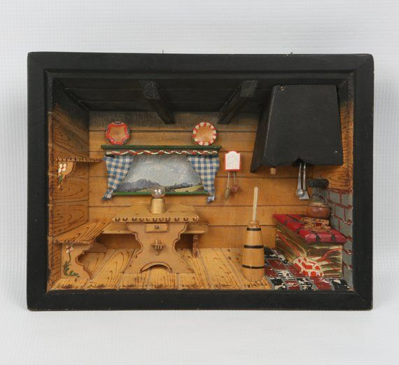 Kitchen Diorama Made Of Cereal Box: Chalet Shadow Box. Diorama 3D Kitchen Scene W Swiss Music