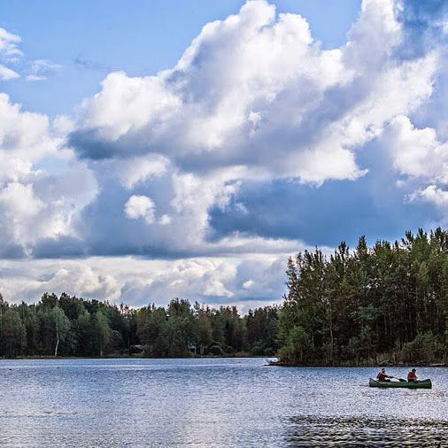 Canoeing on a peaceful lake in Hartola #finland #travelphotography #ecotourism