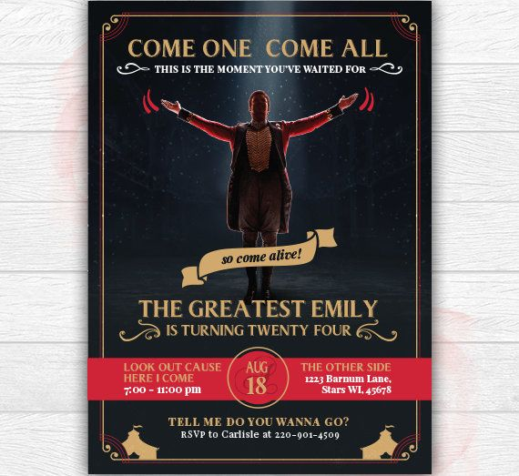 The Greatest Showman Invitation The Greatest Showman Birthday Birthday Gifts For Teens Movie Night Invitations The Greatest Showman