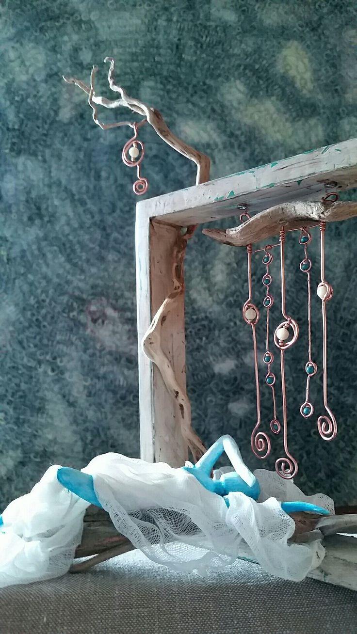 'estasy' scultura in legno rame e cartapesta