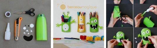 Fabriquer des pots crayons monstres en bouteilles de - Fabriquer un porte crayon original ...