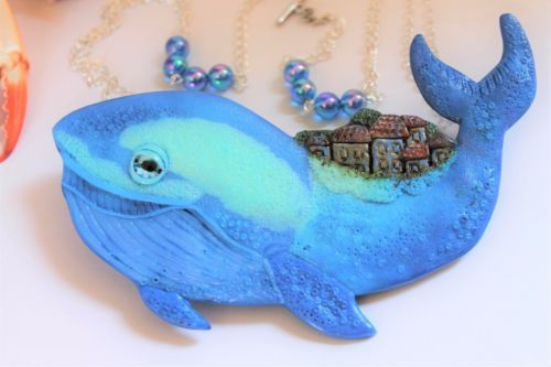 Blue Whale Necklace / Pendant / Handmade / Polymer clay