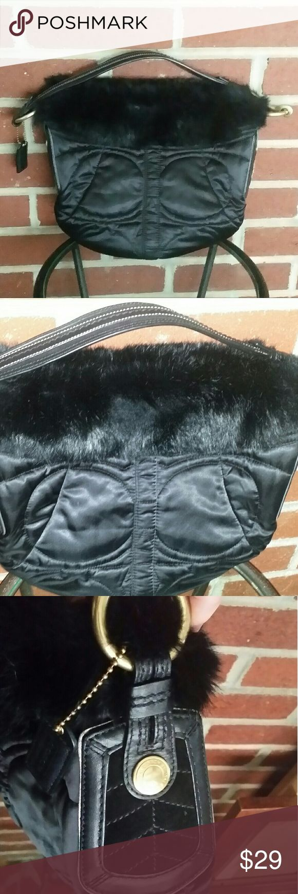 Authentic COACH Small Black Handbag with Fur Cute black quilted satin handbag with for. Used but in near perfect condition. Bag #G05K-3586. Super soft! Coach Bags Shoulder Bags