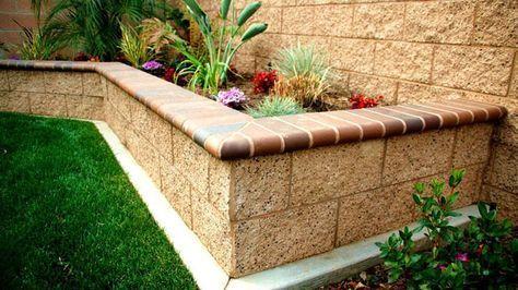 building a brick raised planter box | Raised Planter Box - Split-Face Block with Bull-nose Cap
