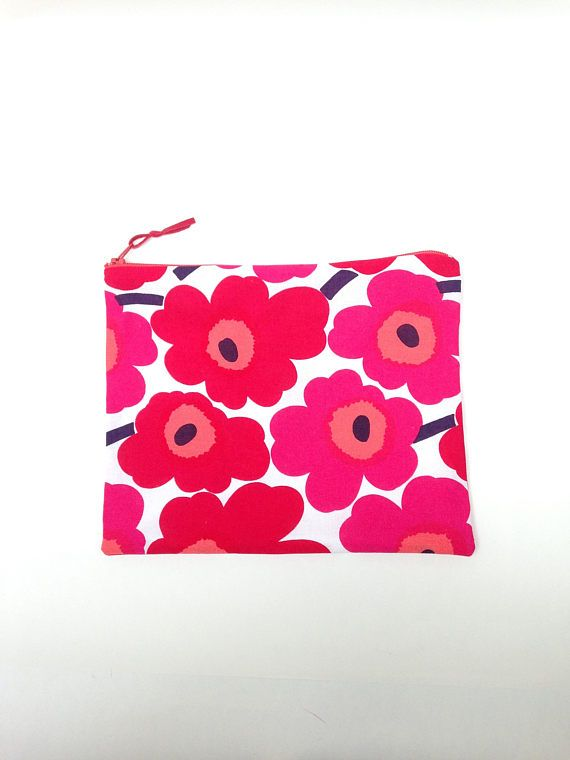 Large Marimekko Unikko Red Zip Case Organiser