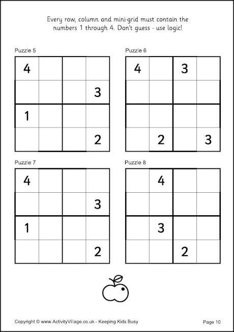 Sudoku for Kids - Example 4x4 Puzzles busy work