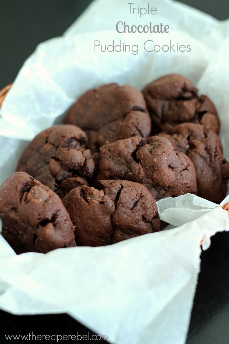 Triple Chocolate Pudding Cookies: dense, rich and fudgy while still ...