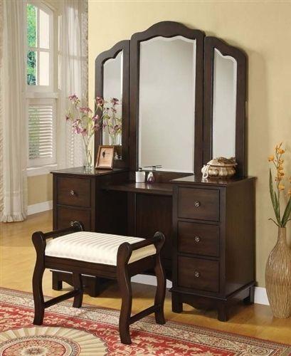 Vanity Table Shop - Leola Walnut Makeup Vanity Table Set, $869.00 (http://www.vanitytableshop.com/Leola-Walnut-Makeup-Vanity-Table/)