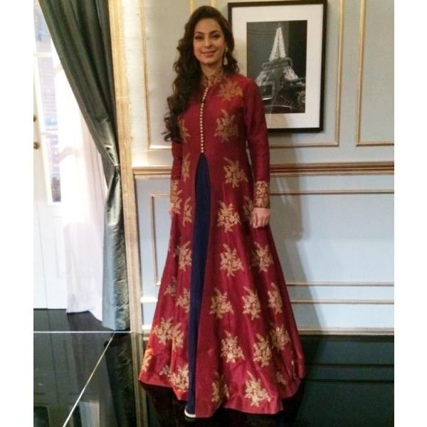 Juhi Chawla Tafetta Silk Machine Work Maroon Semi Stitched Bollywood Designer Suit - S341