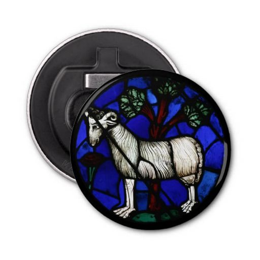 Aries Gothic Stained Glass Windows Notre-Dame Button Bottle Opener