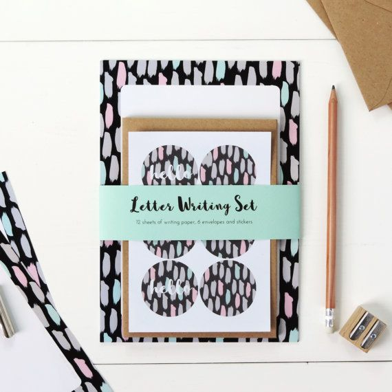 Letter Writing Set: Painterly Brushstrokes - Letter Writing Set- Christmas Gift For Her, Stocking Filler, Stationery Gift Set