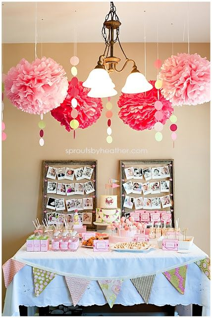 Averys first birthday party cutest little girl 1st for Baby girl birthday decoration pictures