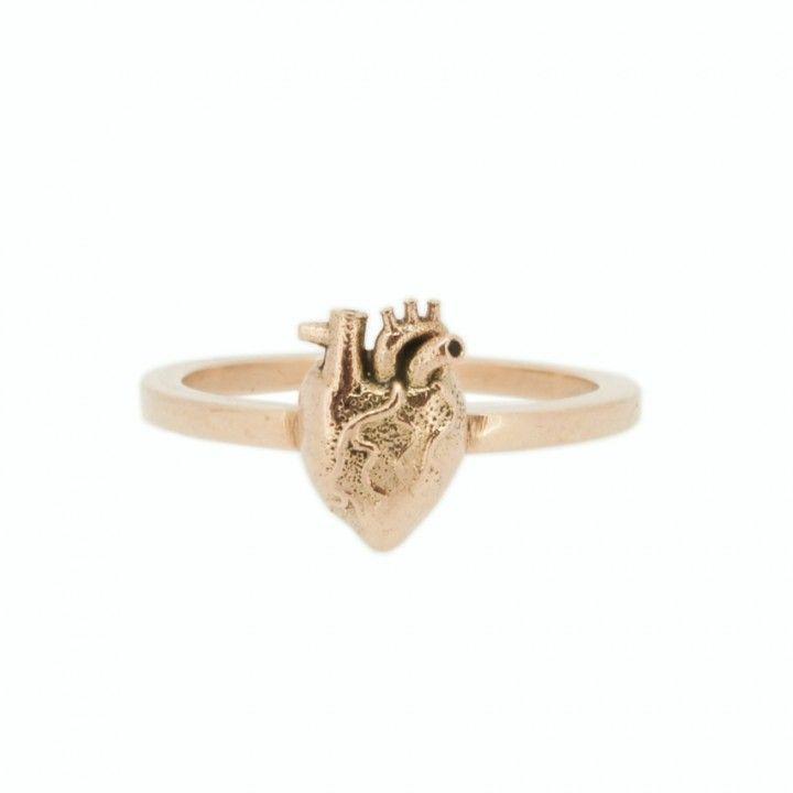 Rose Gold Anatomical Heart Stack Ring