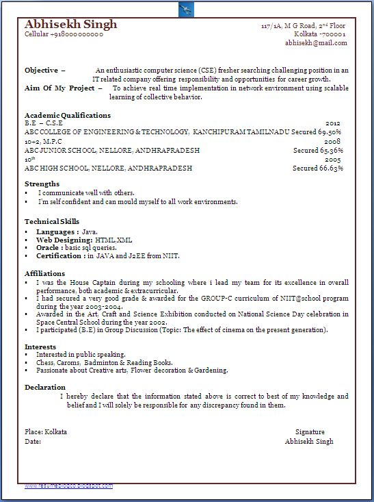 66 Elegant Collection Of Sample Resume For Computer Science Student