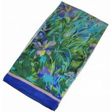 Шелковый шарф Fashion ирисы голубой