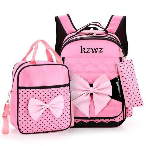 Girls Primary School Bow Backpack And Bag Set Waterproof Children