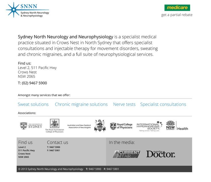 Solutions for chronic migraine - injectable therapy - partial Medicare rebate available from our specialist neurology clinic  Sydney North Neurology and Neurophysiology T: (02) 9467 5900 www.sydneynorthneurology.com.au Level 2, 511 Pacific Hwy Crows Nest, NSW, 2065