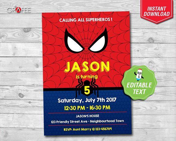 Spiderman Invitation 5x7 EDITABLE Text  Amazing Spiderman