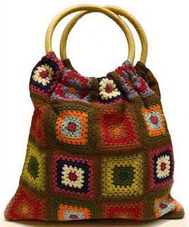 Crochet Granny Square Chic Tote Inspiration ❥ 4U // hf